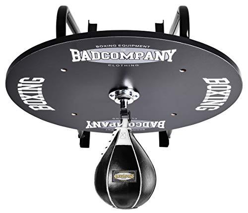 Profi Speedball Plattform Set inkl. Drehkugellagerung schwarz und Leder Boxbirne medium schwarz/Boxapparat für die Wandmontage