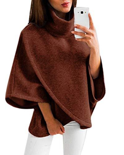 YOINS Damen Pullover Oberteil Poncho Winter Warm Asymmetrische für Damen Pulli Cardigan Sweatshirt Rollkragenpullover Langarm Kaffee S