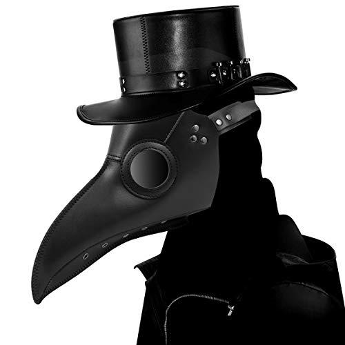 Schnabelmaske, Welltop Halloween Maske Mittelalter Pest Maske Doktor Arzt Kopfmaske Steampunk Kostüm Zubehör für Erwachsene Halloween Party Fasching Karneval