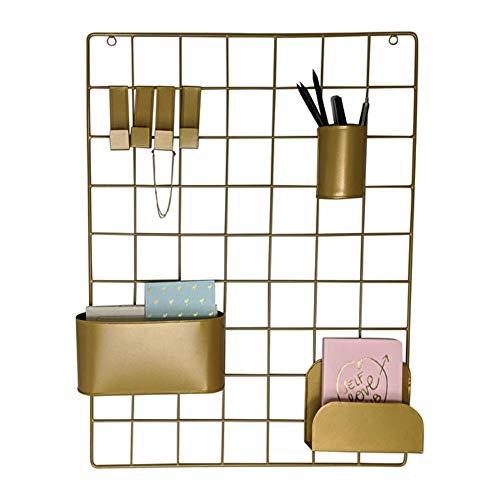 LaLe Living Wandgitter - DEPO aus Eisen in Gold zum aufbewahren von Stiften, Memo Blöcken oder Postkarten, 60,5 x 45 cm