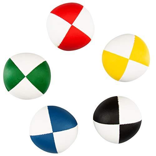 5er Set Diabolo Premium Soft Jonglierbälle zweifarbig - 67mm Ø ✓ Jonglierball Füllung aus hochwertiger Vogelhirse ✓ Wasserabweisend ✓ softes Kunstleder I Jonglier-Set für Jugendliche & Erwachsene