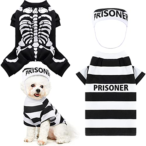 2 Piezas Disfraces de Mascotas de Halloween Ropa de Prisionero Esqueleto Sombrero de Mascota Camisa de Perro Cosplay Ropa Divertida de Perros Sudaderas con Capucha para Fiesta Disfraces