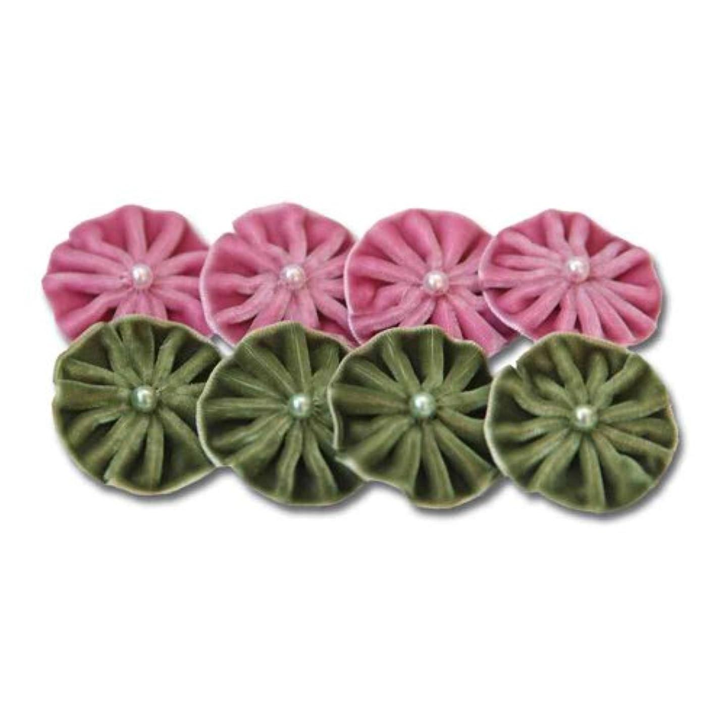 Maya Road Velvet Pleats, Green and Pink