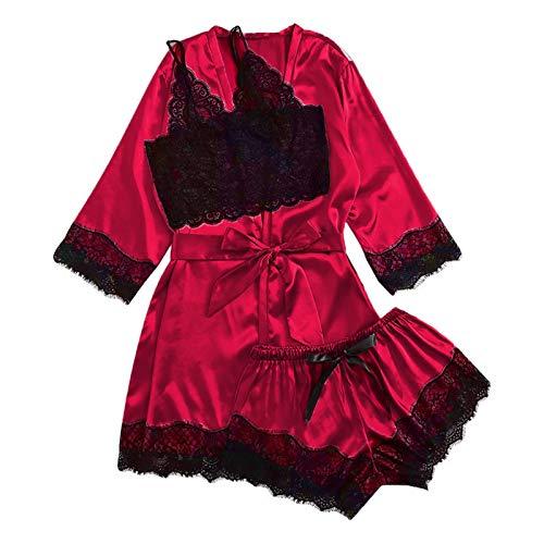 LOPADE Pijamas De Mujer Conjunto De Pijama De Satén De Encaje Floral De 4 Piezas con Camisón para Pijamas Informales Y Fiestas De Pijamas Pijamas De Novia candid