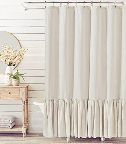 "Felisa Farmhouse Shower Curtain with A Ruffle Hem , Linen Blend Shower Curtain for Bathroom,Natural,72""x72"""