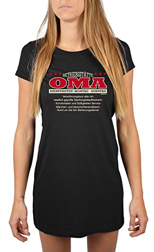 Goodman Design ® Damen Nachthemd, Schlafshirt, Longshirt, Nachtwäsche - Betriebsstätte Oma! Farbe: schwarz