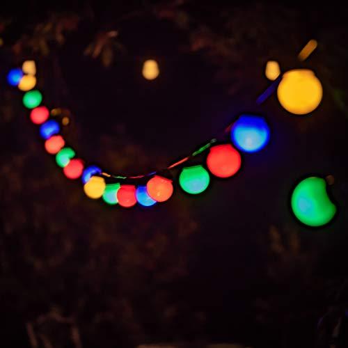 Party Lichterkette bunt 9,5m Mit 20 großen Kugeln wasserfest (IP44) für außen und innen Geburtstagsdeko Hochzeit