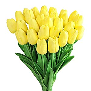 Kisflower 30Pcs Flores Artificiales de tulipán Ramo de Tulipanes Falsos Flores Reales para decoración (Blanco)