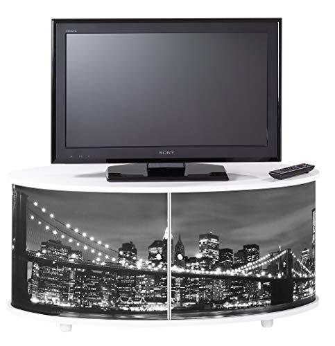 SIMMOB Meuble TV Blanc Grand Ecran, Façade Imprimée-Coloris-New York 500, Bois