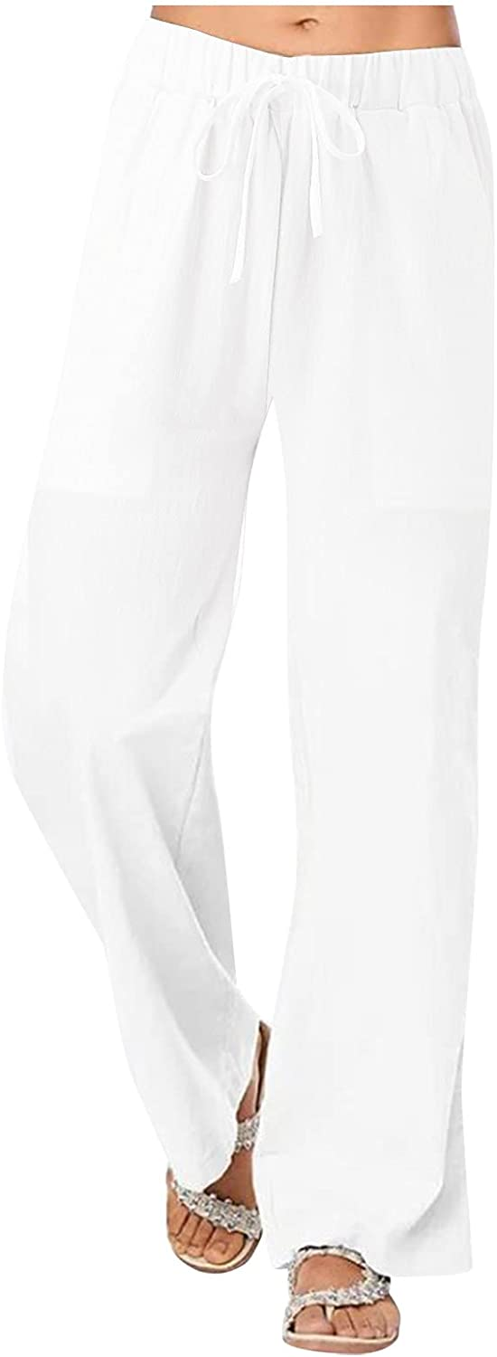 Pole-Trees Women's Solid Low price Linen Ankle Pants Drawstri Max 80% OFF Soft Cropped