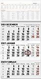 3-Monatskalender klein 2022 - Büro-Kalender 23,7x45 cm (geöffnet) - mit Datumsschieber - inkl. Jahresübersicht - Alpha Edition