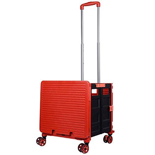 ZXL Carro de Compras Plegable, con Carro de Supermercado Plegable de 4 Ruedas con Caja Rodante Manual, para Archivador, Maleta de Viaje para Oficina, Negro,Rojo