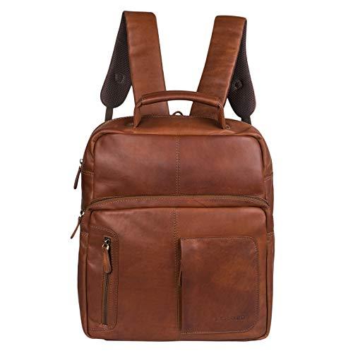 STILORD 'Toni' Vintage lederen rugzak groot voor vrouwen mannen moderne dagrugzak voor A4-map 13,3 inch laptop rugzak handtas voor schoolwerk, Kleur:cognac - bruin
