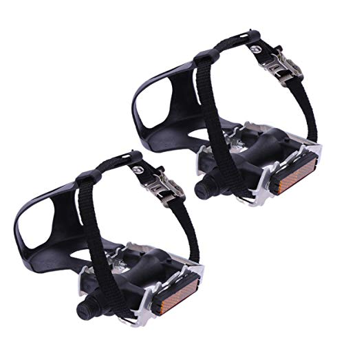 LIOOBO Bike Pedals Universal Platform Pedal with Toe Clip and Straps Exercise Bike Spin Bike Alloy Bicycle Pedals for Fixed Gear Mountain Bike