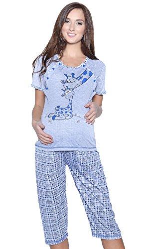 Mija 2069 Pyjama d'allaitement 3 en 1 - Bleu - XXX-Large