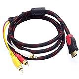 Bellaluee Cables de alimentación y Cables de extensión 3 RCA 1,5 m Cable Adaptador Macho Cable convertidor para HDTV Drop
