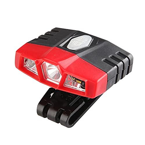 Qagazine Clip de luz para sombrero, 3 luces LED de cabeza giratoria con visera de bola de luz para sombrero, lámpara para exteriores, para correr, caza, camping, pesca