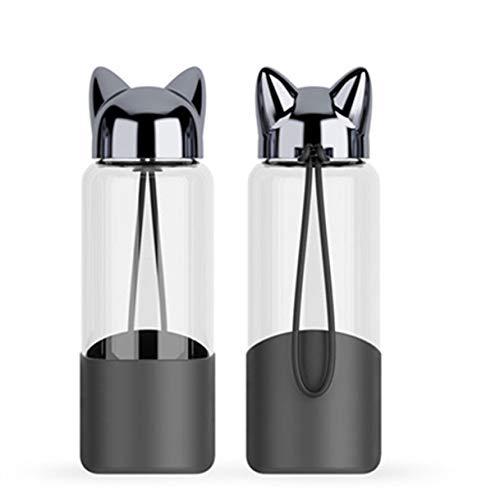 JIAOJIAN 350ML kreative Flash-Fuchs-Wasserflasche mit Seil niedlichen Cartoon tragbaren Outdoor-weiblichen Glas-Getränkeflasche Isolierhülle Schwarz 350ml