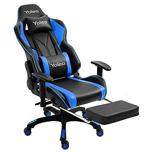 YOLEO Gaming Stuhl, Bürostuhl mit Fußstütze, Ergonomischer Stuhl mit Kopfstütze und Lendenkissen, Racing Stuhl Hohe Rückenlehne, drehbar, höhenverstellbar, bis 200 kg belastbar, PU-Leder, Schwarz-Blau