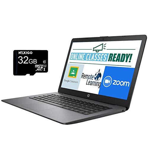 2021 HP Stream 14 Inch Laptop with Webcam, AMD A4-9120e up to 2.2 GHz, 4GB RAM, 64GB eMMC, Windows 10 S (1 Year Office 365 Personal Included) + NexiGo 32GB MicroSD Card Bundle