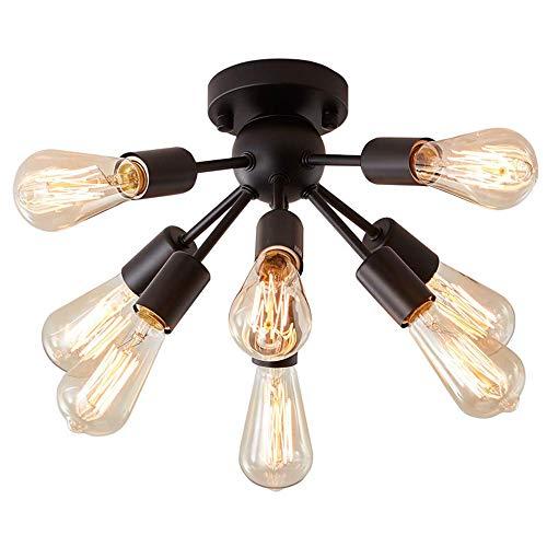 H.W.S – Lámpara de techo negra para dormitorio, salón, 8 luces, lámpara colgante de araña, lámpara de araña E27, metal, para salón, dormitorio, mesa de cocina