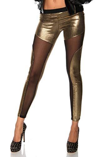 Ducomi ZOE Leggings Damen Metallisierte - Glänzender Effekt mit Sexy Transparenzen - Schlankes Modell mit Laminatoberflächen für Einen...