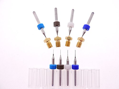 3D Printer Kit J-Head Clogged Extruder Nozzle E3D (2each) .2mm .3mm .4mm .5mm bits + nozzles .2 .3 .4 .5mm E3D V5 & V6 nozzles 1.75mm filament ABS PLA