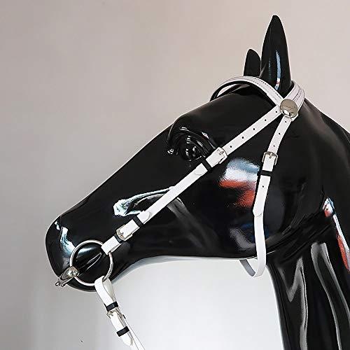 Trense Ohne Gebiss Pony,Trense Für Pferde Vollblut,12,5 cm Breite Edelstahltrense,PVC-Material,Längenverstellbar,Für Alle Pferdegrößen Geeignet,White-12.5cm