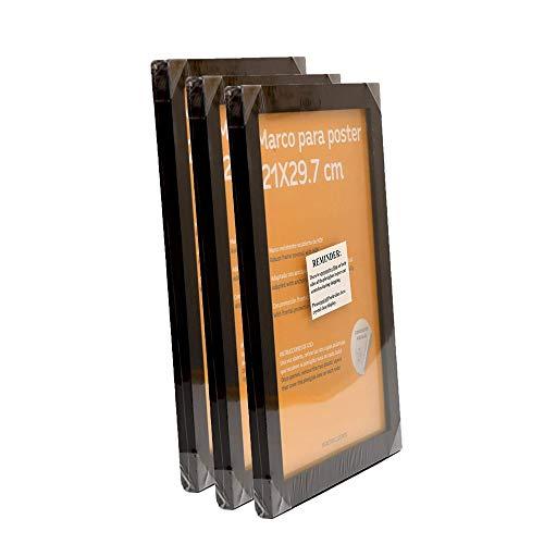 Nacnic Set de 3 Marcos Negros tamaño A4(21x29.7cm). Marco de Color Negro