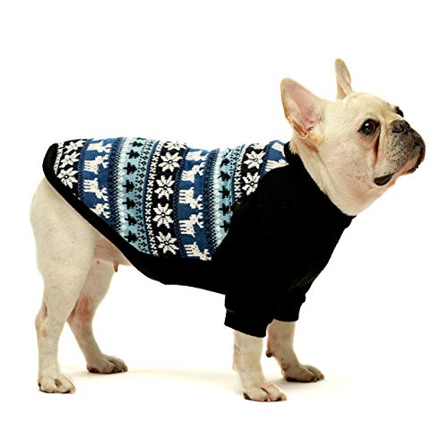 Fitwarm Dog Christmas Sweater Puppy Knitwear Snowflake Pet Winter Clothes Doggie Outifts Pullovers Blue Small