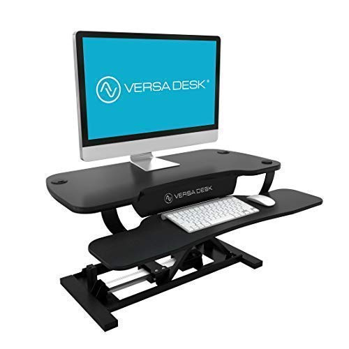 VersaDesk Power Pro - 36' Electric Height-Adjustable Desk Riser - Sit to Stand Desktop with Keyboard and Mouse Tray - Black