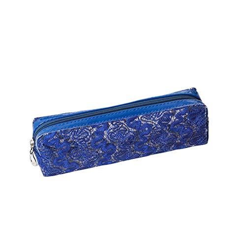 LWLEI Funda de lápiz de PVC Naranja Bolsa de cosméticos Equipo de alumno Cremallera Brillante Rejilla Bolsa de Bolsas Suministros de Oficina Femenino Cosmético Bolsa de Almacenamiento cosmético Song