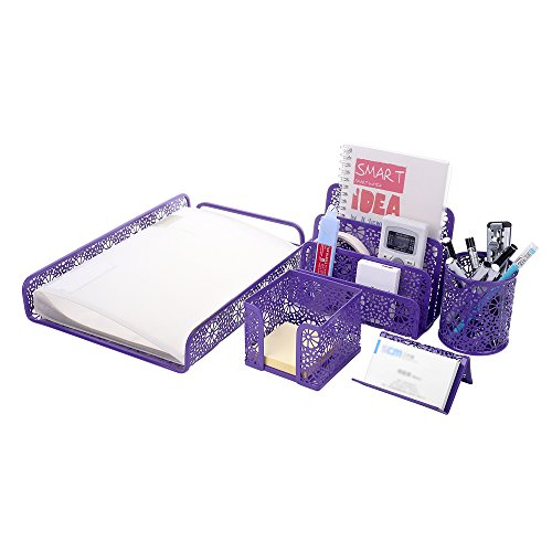 Crystallove Set of 5 Purple Metal Mesh Desktop Supplies Organizer