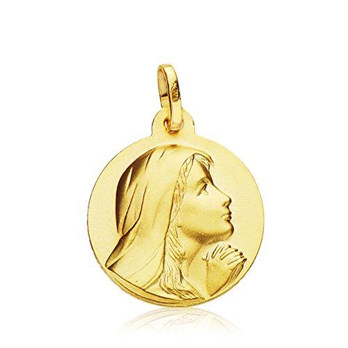 Medalla Virgen María 18 mm en oro de 18 Ktes