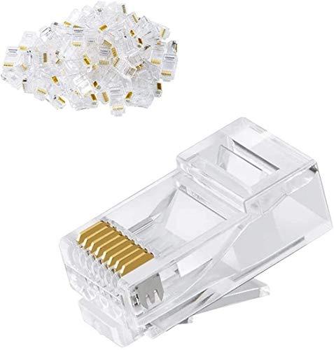 CableCreation Cat6 RJ45 Stecker, 100-Pack Crimpstecker Cat6, Cat6a/ Cat5e RJ45-Steckverbinder, UTP Ethernet-Kabel Crimp-Steckverbinder, Netzstecker für Volldraht und Standardkabel, Transparent