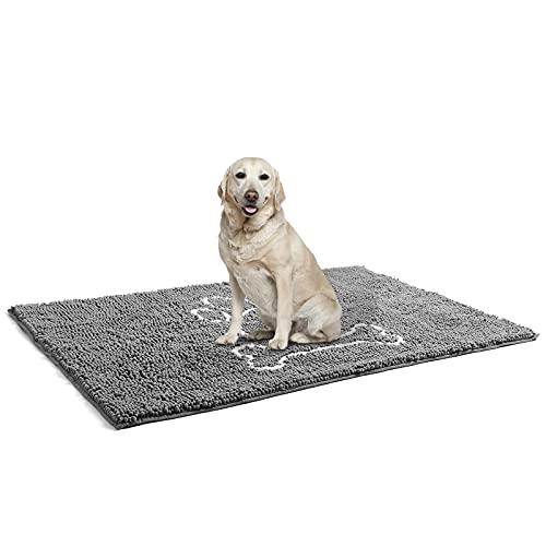 AROGAN Doormat Dog Chenille Doormats Grey, Pet Indoor Door Mats Washable for Mud Entry Indoor Busy Area Dogs Muddy Pawprints 30 x 48 Inch