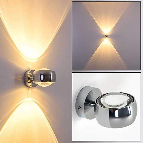 Moderne halfronde lamp voor aan de wand - verchroomde metalen schijnwerper met glazen lenzen - indirect licht in de vorm van twee lichtkegels - LED- of halogeenlampen mogelijk