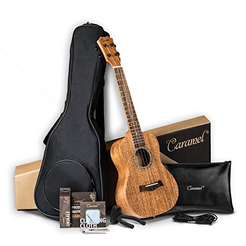 Left Handed - Caramel CT402L All Solid Mahogany Tenor Acoustic & Electric Ukulele Strings, Padded Gig Bag, Strap and EQ cable