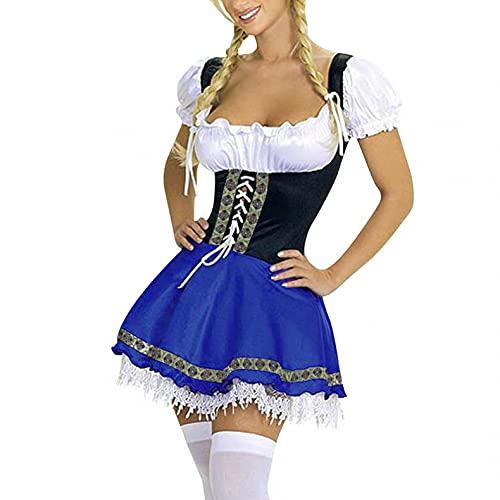 Blingko Dienstmädchen-Outfit Damen Große Größe Dienstmädchen-Outfit, Halloween Oktoberfest Kleid Body Sculpting Bühnenkostüm Kostüm Mädchen Kleider Body Shaper Herbst Pocket Oberteil Tops
