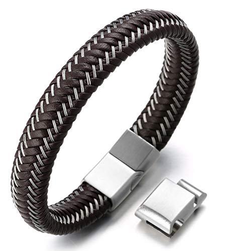 Halukakah ● Jazz ● Herren-Armband Handgefertigt | Echtleder in Braun | Magnetverschluss Edelstahl | KOSTENLOS Geschenkbox | Tolle Geschenkidee | Einstellbar 21.5cm-23cm(L)
