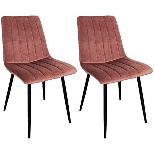 Nimara 2er Set Samt Stuhle Esszimmerstuhl Rosa | Polsterstuhl skandinavisches Design | In der Küche, Wohnzimmer, Esszimmer anwendbar | Samtstuhl mit Metallbeinen von hoher Qualität
