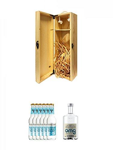 1a Whisky Holzbox für 1 Flasche mit Hakenverschluss + Fever Tree Mediterranean Tonic Water 6 x 0,2 Liter + OMG Oh My Gin 0,5 Liter
