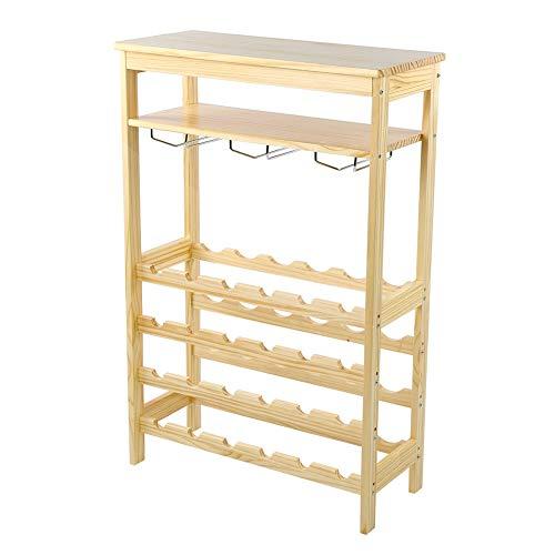 Estink Botellero de vino estantería de bambú para 24 botellas y 10 portavasos, soporte para botellas, 29 x 66 x 100 cm