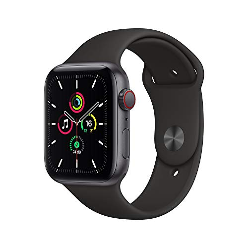 Apple Watch SE (GPS + Cellular, 44 mm) Aluminiumgehäuse Space Grau, Sportarmband Schwarz