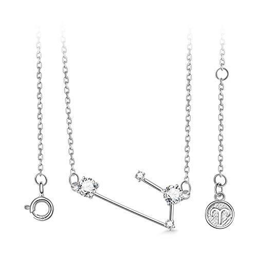 T400 925 Sterling Silver Horoscope Pendant Necklace   Zodiac Sign 12 Constellation Birthstone Birthday Gift for Women Girls