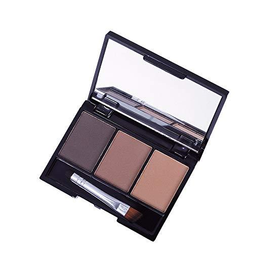 Katpost 3 couleurs Poudre de Sourcil Imperméable Poudre de Maquillage de Sourcil Anti-sueur,Longue Durée & Naturel,Poudre de Sourcil avec Brosse à Sourcil et Miroir