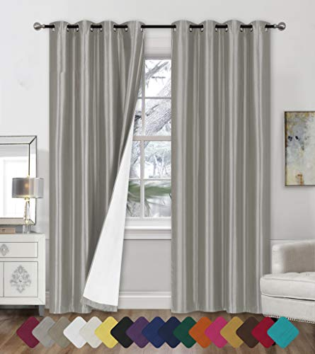 """Faux Silk Blackout Curtains - 2-Panel Sets of 54x84 Room Darkening Black Out Curtains for Bedroom - Durable Thermal Insulated, Sun and Sound Blocking Dark Window Curtain - (FS3, 84"""", Silver)"""