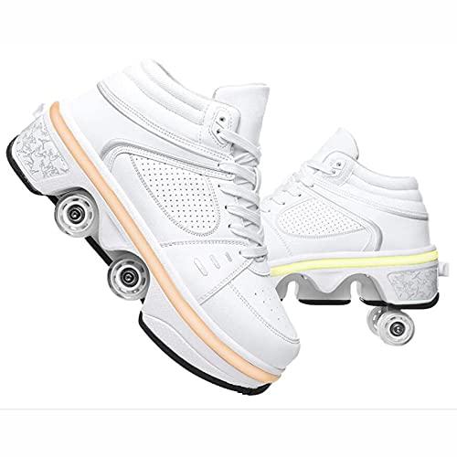 XRDSHY Patines para Niños Niñas Calzado Deportivo Al Aire Libre Zapatos con Ruedas con Luces LED Zapatos Deportivos Deformados Multifuncionales,White-EU41/27.3cm