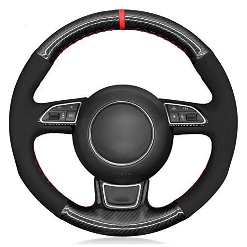 YHDNCG Handgenähtes schwarzes Leder-Auto-Lenkrad-Abdeckung, für Audi A1 A3 A4 2015-2016 A7 2012-2018 S7 2013-2018 RS7 2014-2015