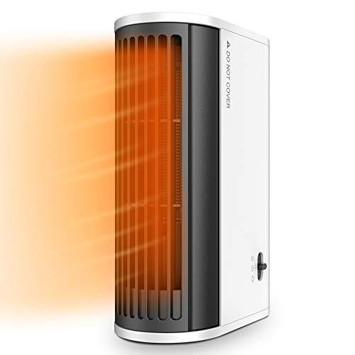 Calefactor Portátil, Calentamiento Rápid, Calentador Eléctrico 500W con Oscilación Automática, 2 Modos, Uso Vertical y Horizontal, Calentador Silencioso para Hogar, Oficina